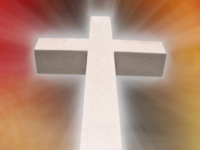 Seamless Loop with white cross with motion background of red and gold with light rays emanating from the cross. SD 480p