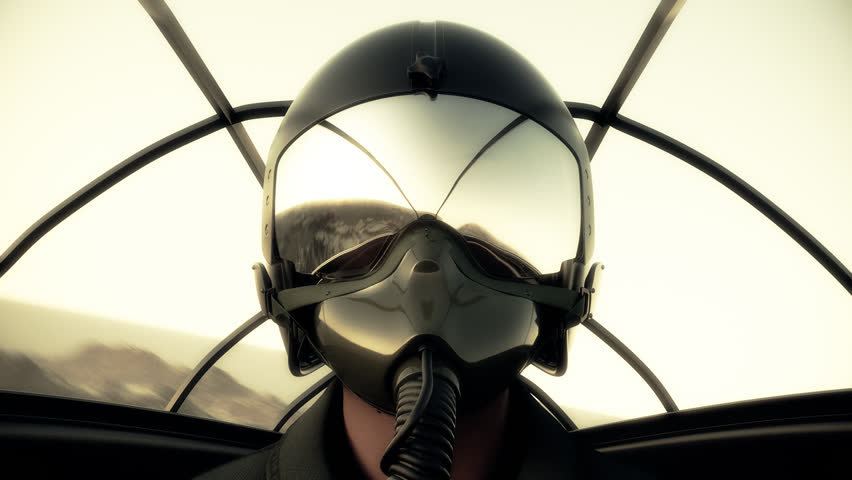 Footage Of Pilot Wearing Mask And Helmet In Cockpit Of Fighter Jet.686_a