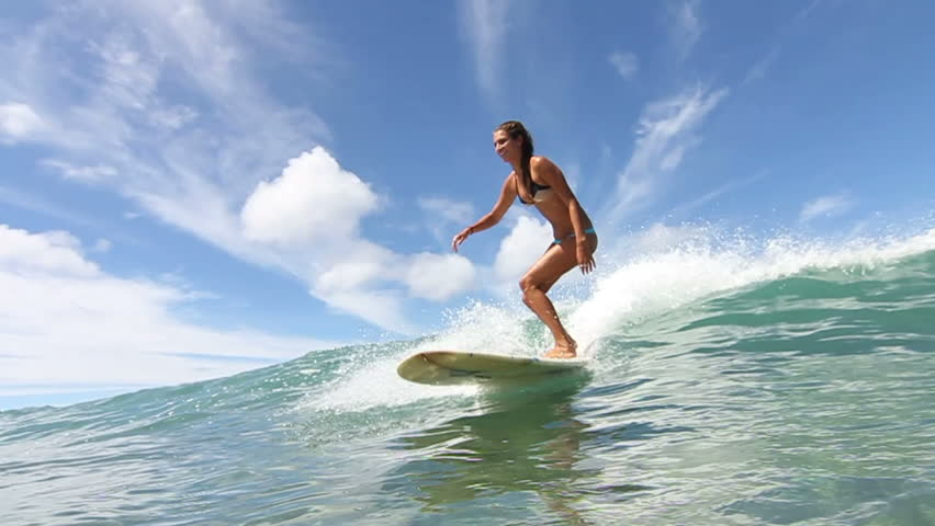 Slow Motion Young Woman Surfing Stock Footage Video 100 Royalty Free 6774289 Shutterstock