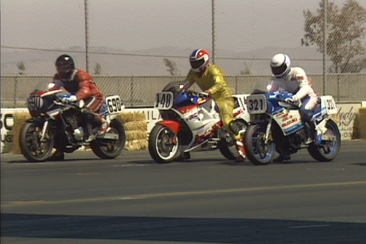 NAPA, CA - CIRCA 1989: Amateur AFM motorcyclists compete in 1989 at the former Sears Point Raceway (now Infineon Raceway) in Napa, California.