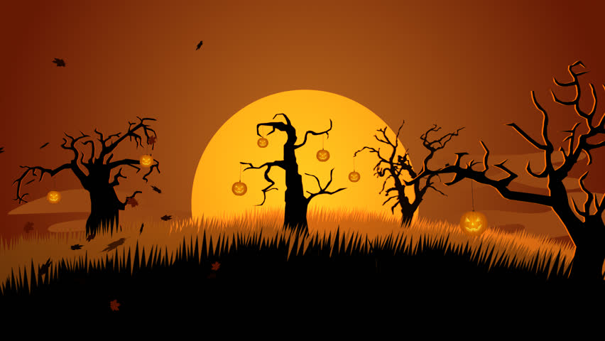 01602 a creepy graveyard halloween background scene with graves evil pumpkins on trees and - Halloween Background Video