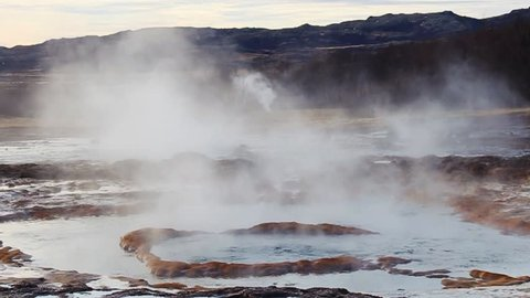 A geyser erupting in Iceland. This is a close up of Strokkur geyser erupting and can be slowed down in slow motion as it is shot in 59.96 fps.