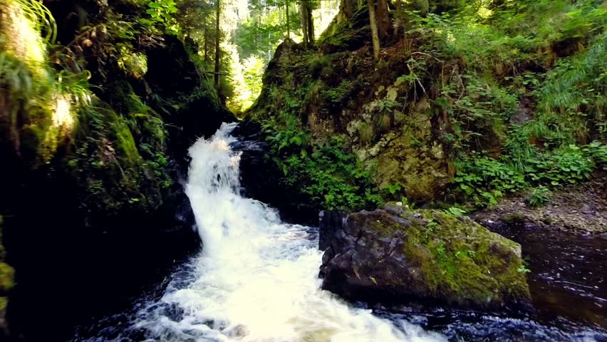 following a river and small waterfalls in the ravenna gorge, black forest, germany. slow motion video.