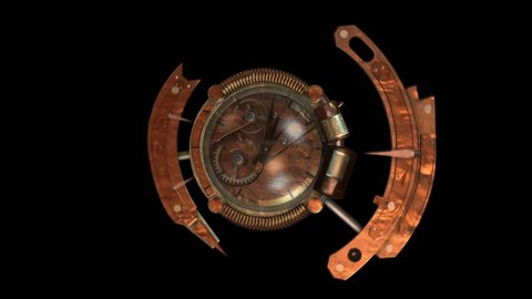 3D STEAMPUNK CLOCK FULL SHOT. Ideal for Science fiction movies, TV shows, intro, news, commercials, retro, steampunk, technology related projects. Includes ALPHA MATTE for easy background replacement.