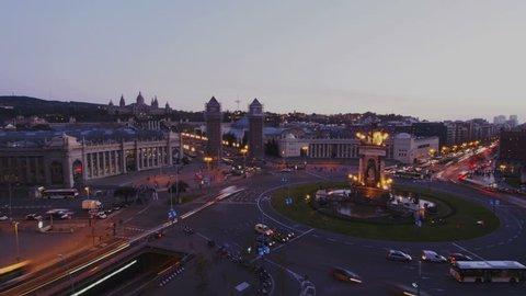 Night view of Placa Espanya Timelapse - Spanish Square in Barcelona, Catalonia, Spain
