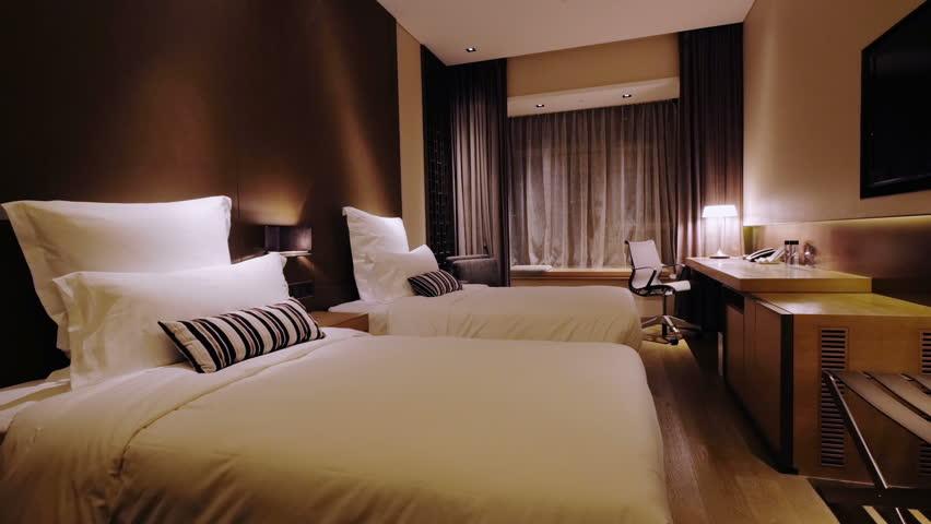 Luxury Hotel Room Interior 4k Pan Shot Of A Luxury Hotel Room