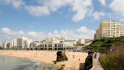 time lapse shot of the city of Biarritz in france. the town is set around a huge bay and is a hot spot of european surfers