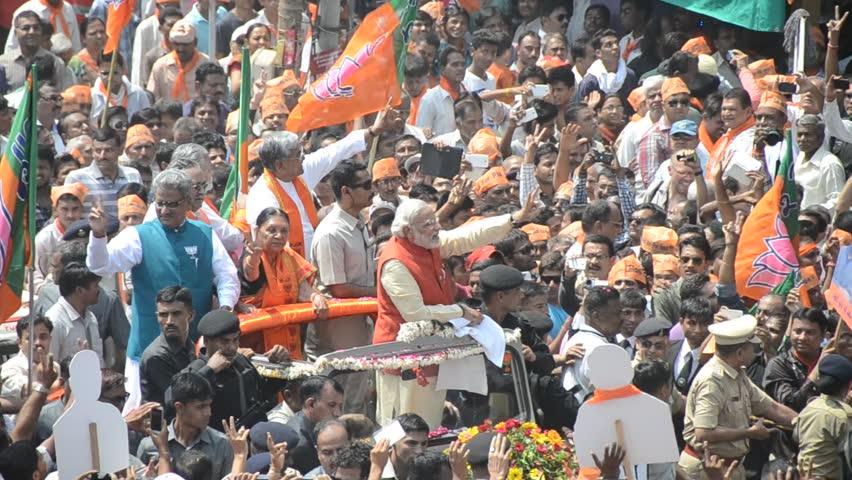VADODARA, GUJARAT/INDIA - 9 April 2014 : Gujarat Chief Minister and BJP prime ministerial candidate Narendra Modi saying thanks to the people on 9th april in Vadodara, Gujarat.