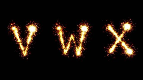 Sparkler animation. Letters V W X. Alphabet.