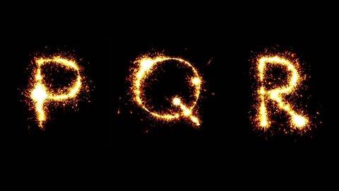 Sparkler animation. Letters P Q R. Alphabet.