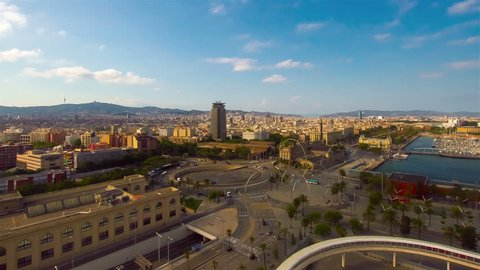 BARCELONA, SPAIN, AUGUST 2013 Moving timelapse of Barcelona cityscape