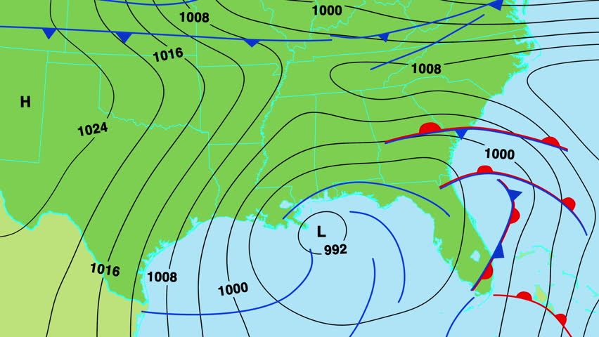 Animated Weather Forecast Map Of South East United States Of - Us map with fronts