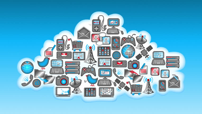 Background or set of communications icons looping with matte includes tv satellite dish - Tv und mediamobel ...