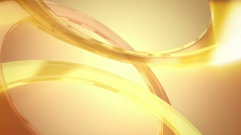 Loop animation of gold shining 3D glass rings. Modern background of smooth curves with light rays, highlights and reflections. Could represent a Golden Wedding (50th Anniversary). In 4K ultra HD.