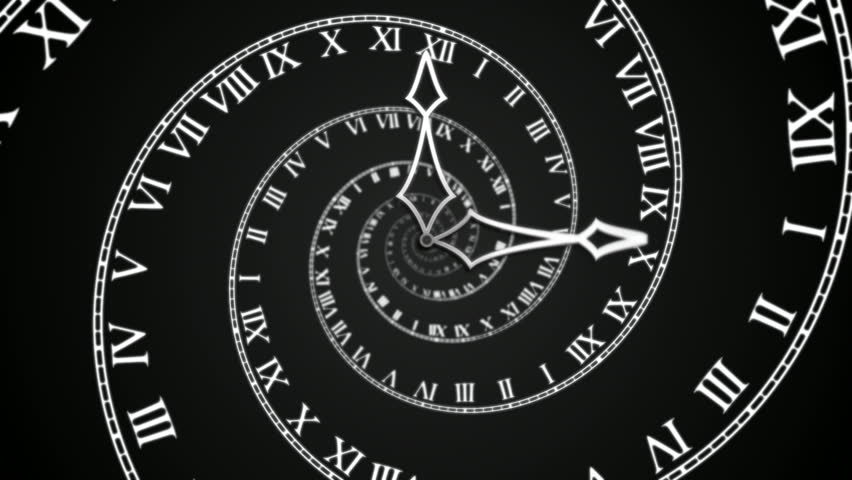 Black Spiral Clock loop (HD) Looping animation symbolizing losing track of time. With a spiral clock turning on black background. Full HD animation generated in smooth progressive frames.