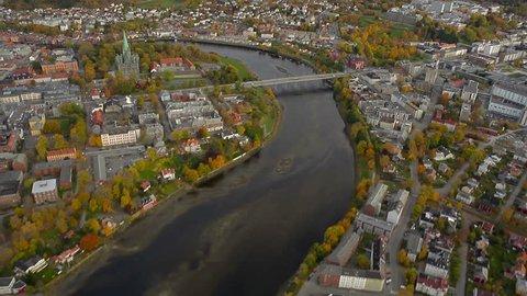 TRONDHEIM, NORWAY, SEPTEMBER  2013 Aerial View over Trondheim, Norway.