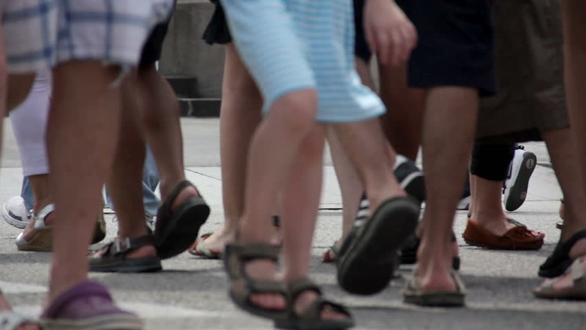 People crossing the road in the center of Barcelona | Shutterstock HD Video #7042606