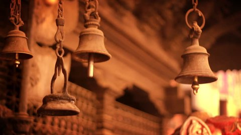 Ancient Bells on a temple in Kathmandu, Nepal.