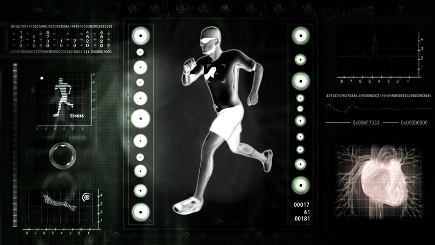 Checking human abilities. X-ray view. Health jogging.