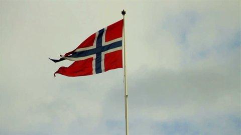 Oslo, Norway, July 2012 - Norwegian flag in Oslo, Norway.