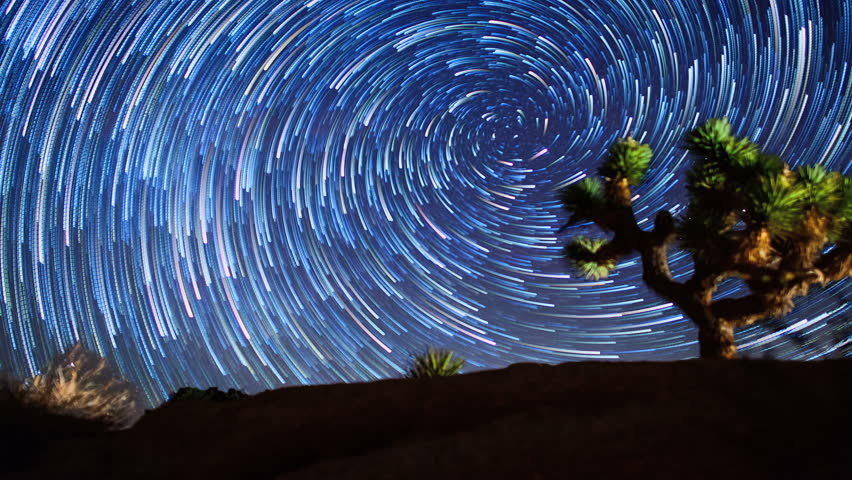 Vortex Star Trails Night Sky Time-lapse over Joshua Tree - goes to Sunrise