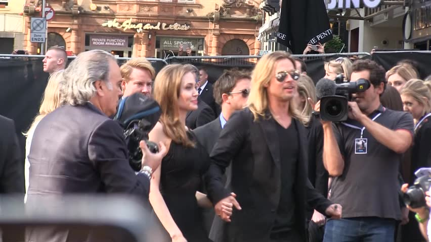 LONDON - JUN 02:  Brad Pitt and Angelina Jolie attend the World War Z world premiere Jun 02, 2013 in London