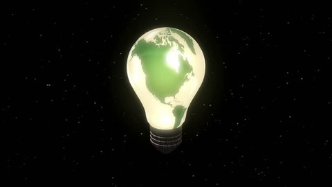 Lightbulb Earth illustrating concepts of the environment and renewable power