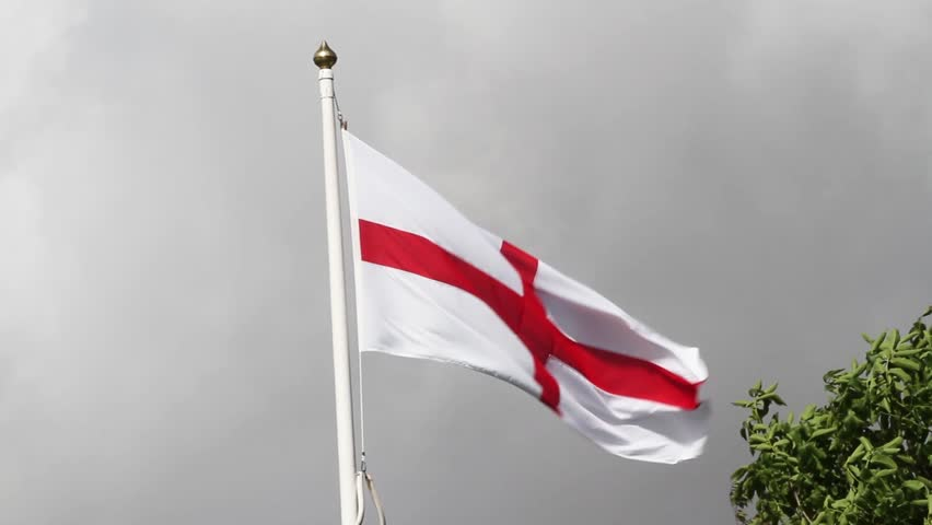 22f31464 English Flag, the Cross of St George, a red cross on white background  blowing in the wind