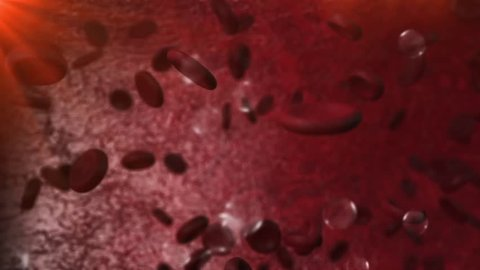 Panning clip inside the bloodstream showing red blood cells and bad fats in depth of field with bubbles effect