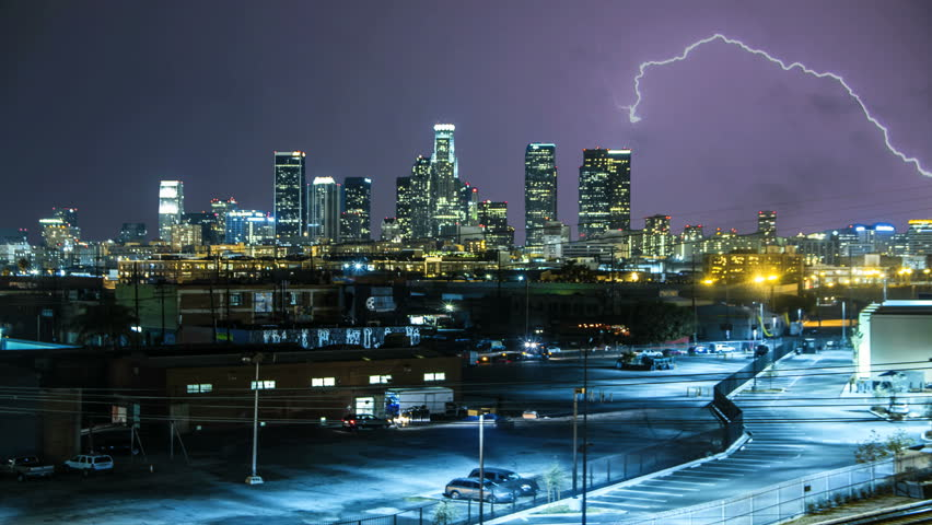 Stock Video Of Lightning Storm Over Los Angeles City
