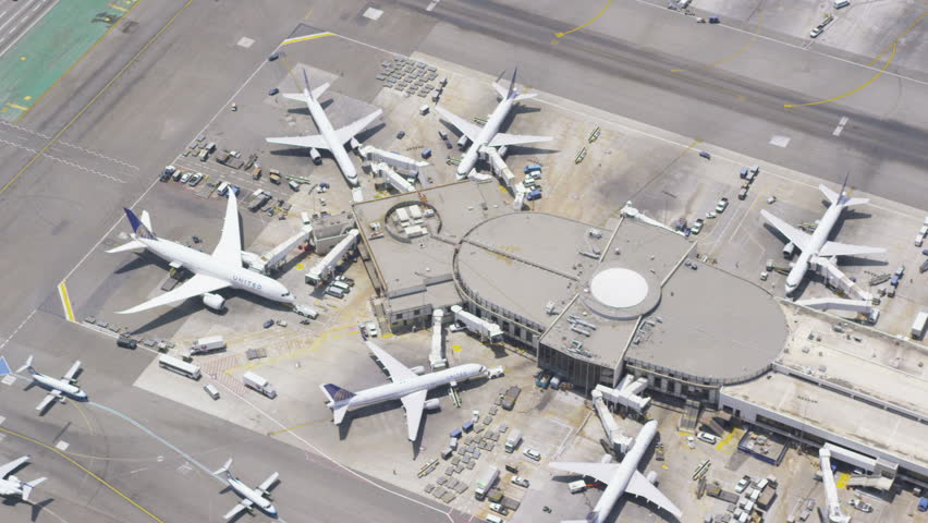 Aerial view of an international airport terminal. Los Angeles LAX International airport terminal, California, USA