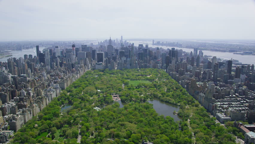 Aerial view of Central Park in New York City, United States of America. Helicopter flying over the green area of NYC.