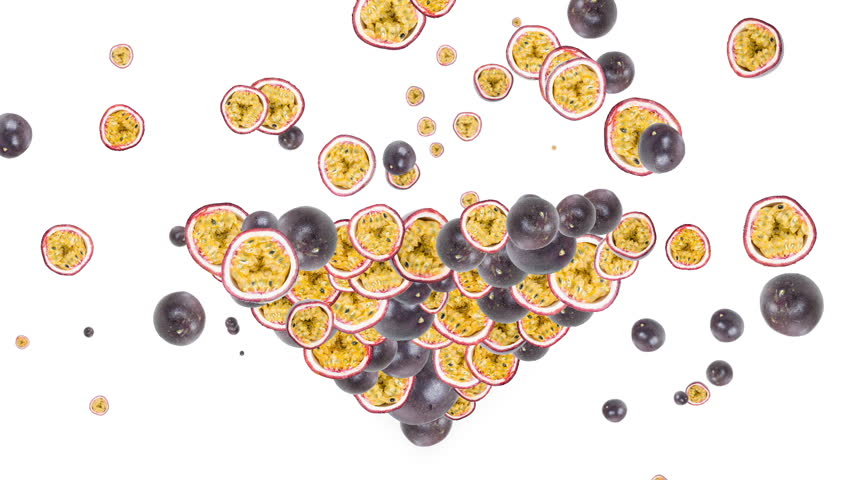 Passion Fruits forming a heart shape (full HD animated video)