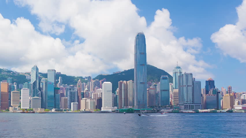 Panning timelapse video of Victoria Harbour in Hong Kong in daytime | Shutterstock HD Video #7263112