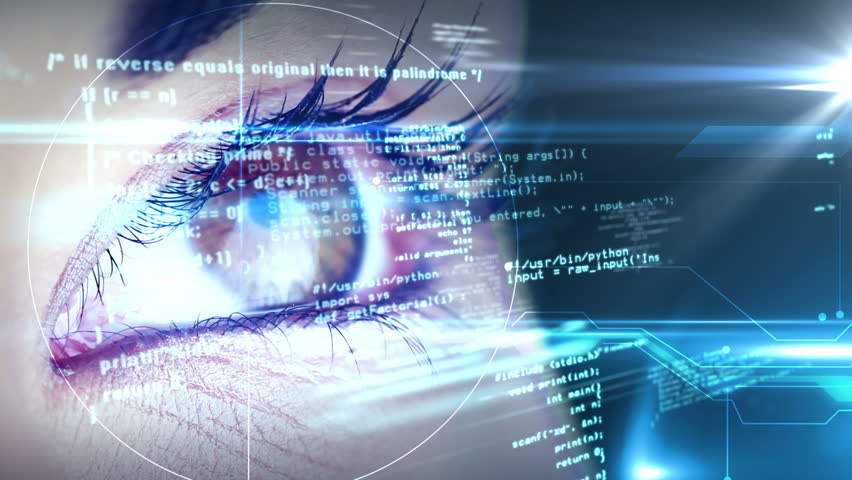 Digital animation of Eyes looking at holographic interface | Shutterstock HD Video #7286443