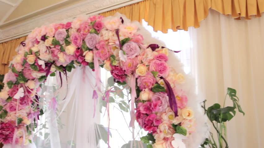 Wedding decoration wedding arch of white paper flowers flower beautiful wedding arch of flowers hd stock video clip junglespirit Gallery