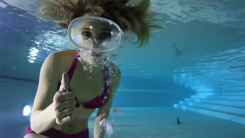 Stock Video Of Female Diver Underwater In The Pool