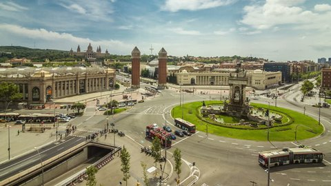 Plaça d'Espanya timelapse (time lapse, time-lapse), Barcelona, Spain. View from the Les Arenes mirador.
