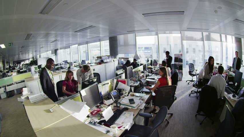 Diverse business group working together in large modern city office | Shutterstock HD Video #7371259