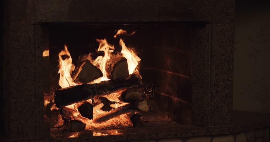 Fireplace Burning, 4K. Warm Cozy Burning Fire In A Brick Fireplace ...