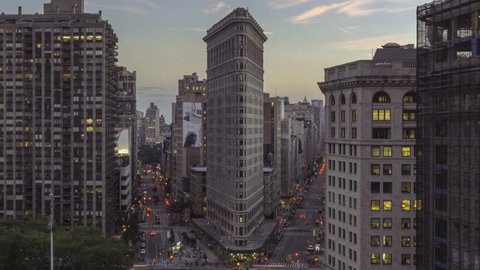 An early evening time lapse of the Flatiron District in New York City. (Zoom out)