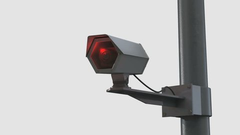 An observation camera moves slightly from one side to another in front of a white background. The 3D animation can be used for showing the rapid increase of technology evolved for surveillance.