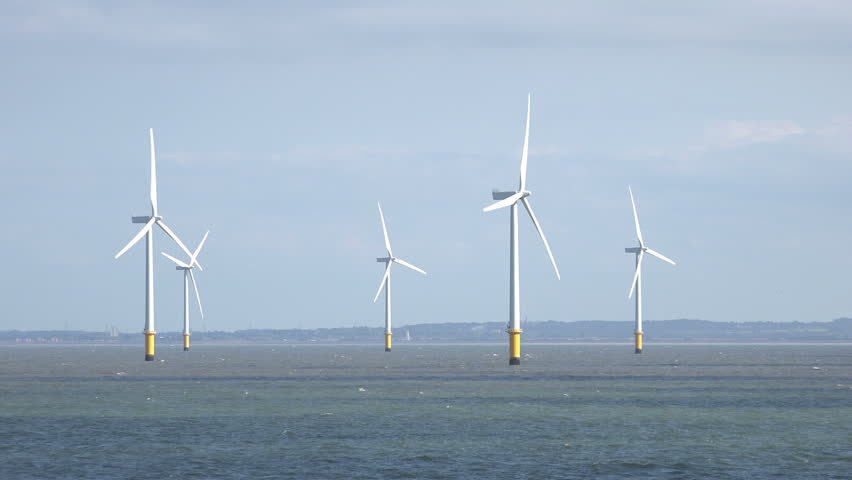 Tracking Shot Of Wind Turbines In Liverpool Bay In The