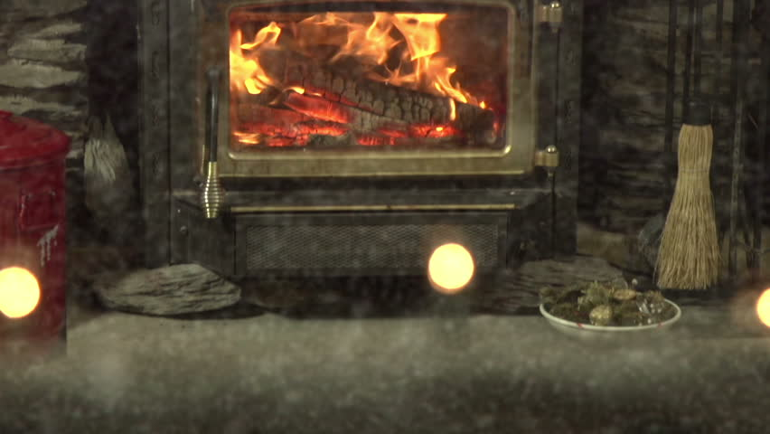Tilt up to reveal interior Christmas scene as snow falls outside | Shutterstock HD Video #7456159