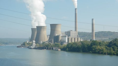 The Bruce Mansfield Power Station, a coal-fired power station owned and operated by FirstEnergy on the Ohio River near Shippingport, Pennsylvania.