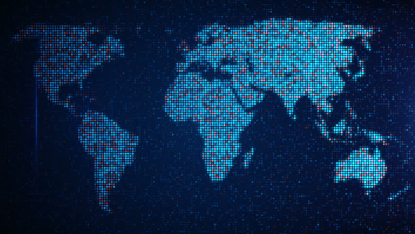 Technology map with continents and blinking light loop hd 1080p scan pixelated world map computer generated seamless loop abstract motion background hd stock footage sciox Image collections
