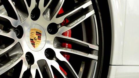PRAGUE, CZECH REPUBLIC, CAR EXHIBITION - SEPTEMBER 27, 2014: car wheel - disc brake - Porsche 911 Turbo