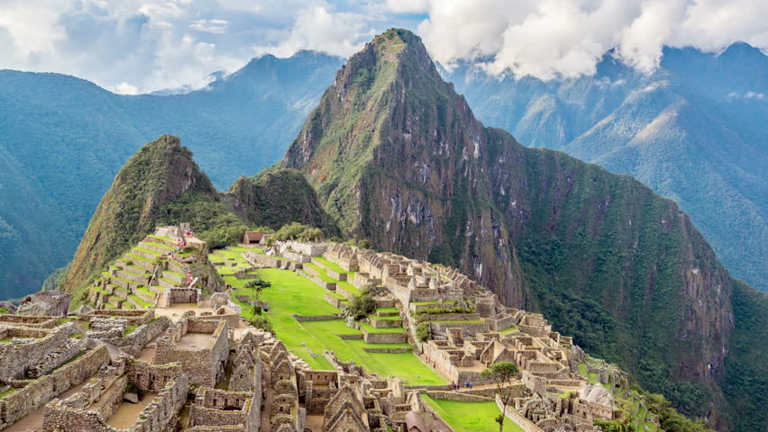Time lapse footage of Machu Picchu with the camera slowly zooming out