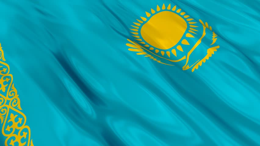 Flag of Kazakhstan Waving in Stock Footage Video (100% ...