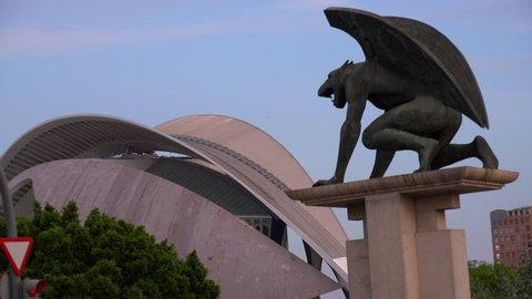 A mythical gryphon statue near the city of Valencia, Spain.